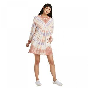 Tie-Dye LS Mock Turtleneck Knit Dress Peach/Navy